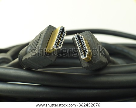 two hdmi connectors closeup - stock photo