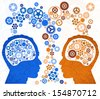 Two Heads Better. Illustration of two different thought processes combining as one.  - stock vector