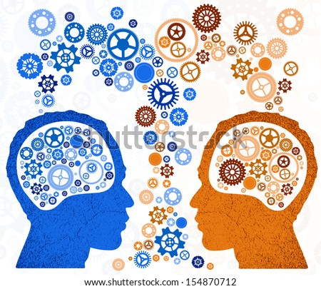 Two Heads Better. Illustration of two different thought processes combining as one.  - stock photo