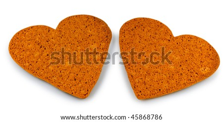 Two heart cookies isolated on white