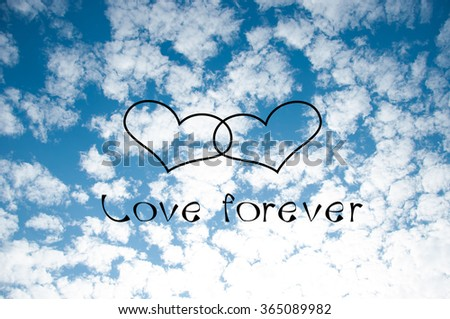 two heart on the blue sky background - stock photo