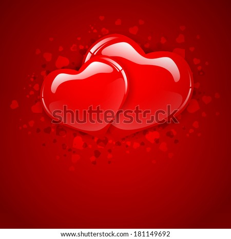 Two Heart Over Red Background, Copyspace