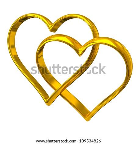 Two heart shape golden rings - stock photo