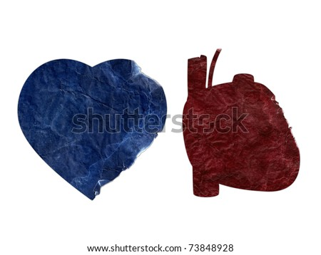 Two heart shapes torn and ripped (Clipping path included). - stock photo