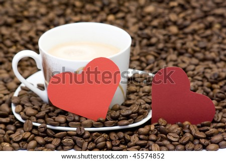 two hearts and cup of coffee