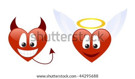 Two hearts characters isolated on a white background. - stock photo