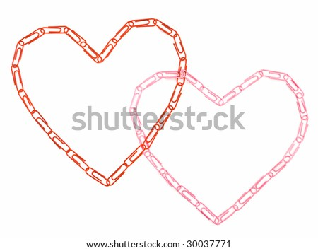 Two hearts from writing paper clips - stock photo