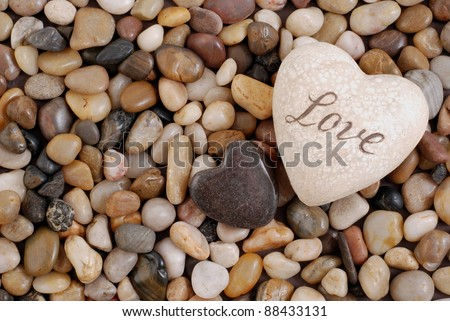 Two hearts  in stones - stock photo