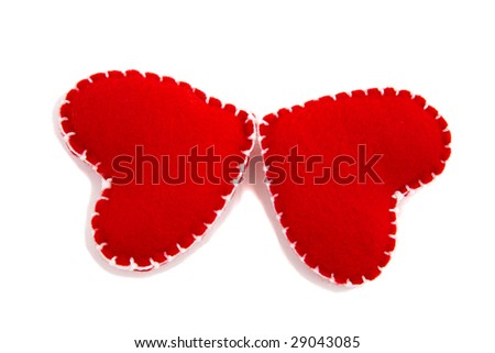 Two hearts make a butterfly - stock photo