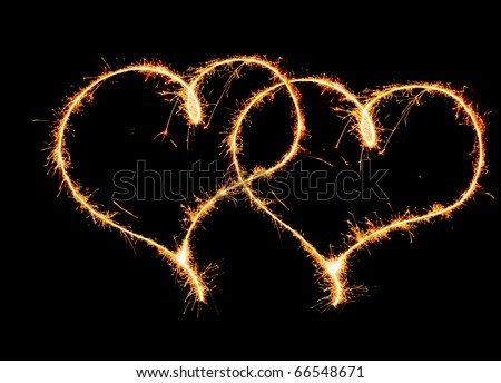 two hearts sparkler - stock photo