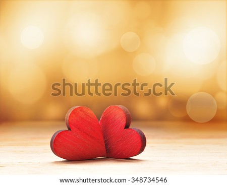Two Hearts. Valentines day. - stock photo