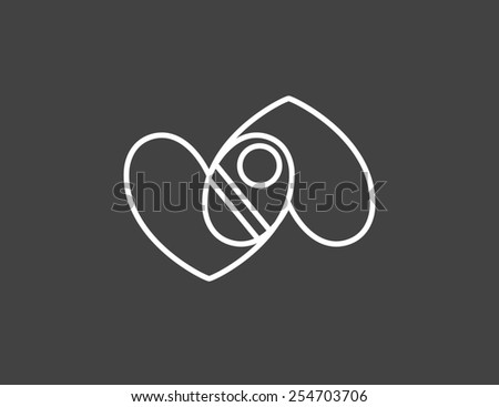Two hearts with a baby. Contour illustration. - stock photo