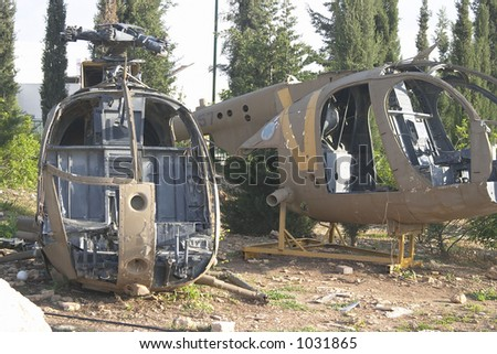 Two helicopter bodies - stock photo