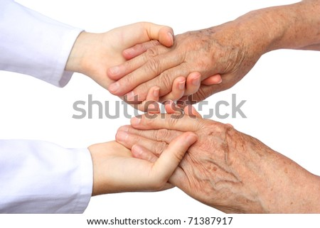 Two helping hand isolated - stock photo