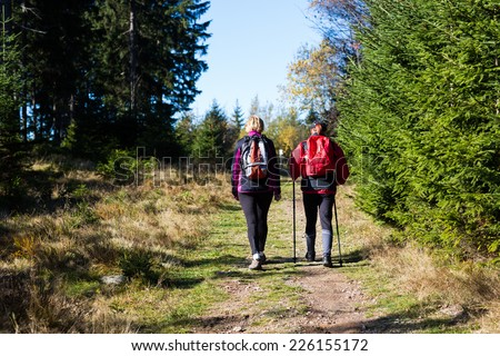 Two hiking tourists on the path with blue sky in Czech Giant Mountains. Color toned image. - stock photo