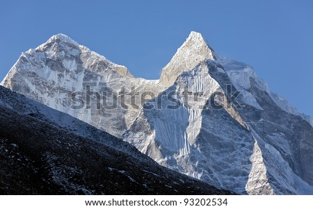 Two himalaya peaks - Nepal - stock photo