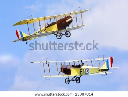 Two historic plane Curtiss JN-4 - stock photo