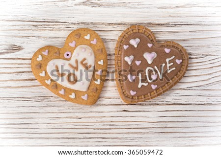 two holiday cookies - stock photo