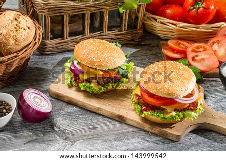 Two homemade burgers made from fresh vegetables - stock photo