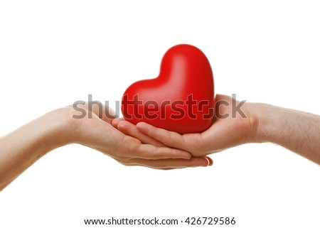 Two homosexuals holding heart isolated on white