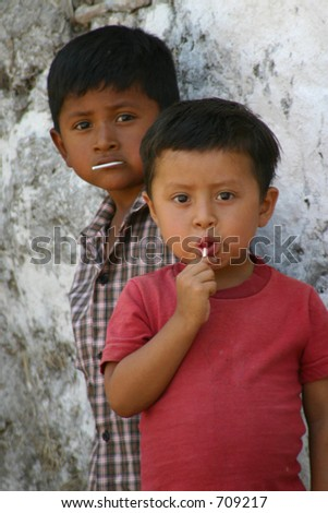 Two Honduran Boys with Suckers
