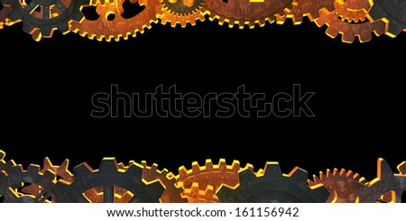 Two horizontal lines of the gear on a black background - stock photo