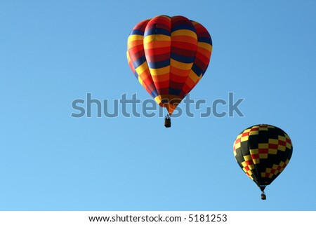 Two hot air baloon in sky - stock photo