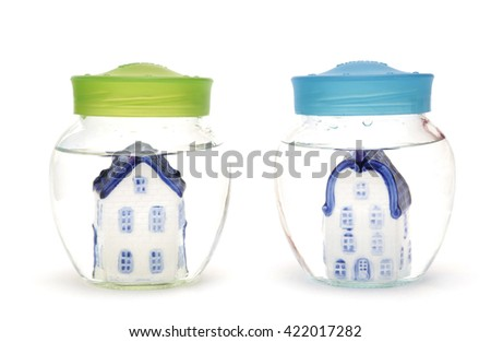 Two houses under water - stock photo