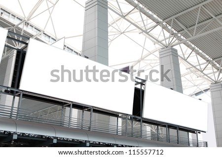 two huge Blank Billboard with empty copy space in airport (path in the image), shot in china, Guangzhou airport - stock photo