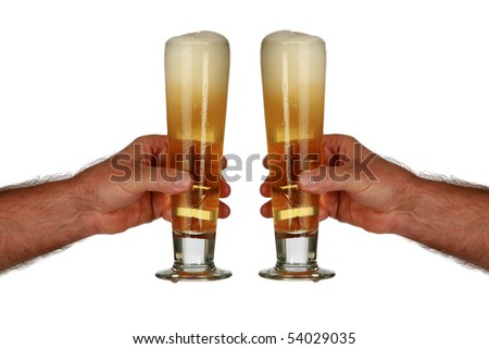 two human arms toast a glass of beer  isolated on white - stock photo
