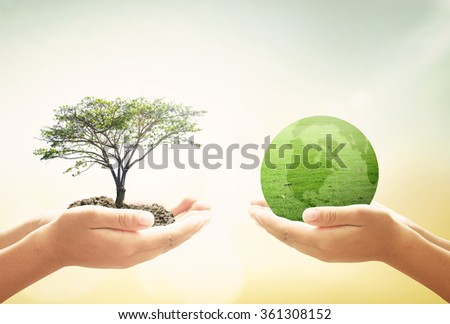 Two human hand holding planet and big tree. Ecology CSR Executive Business Generosity Investment Kindness Love Clean Recycle Arbor Spring Time Grow concept. - stock photo