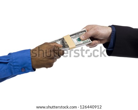 Two human hands holding a bundle of money - stock photo