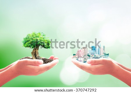 Two human hands holding the city and big tree. Ecological City, World Environment Day, Sustainable Development, ROI, Go Green, Eco Friendly, Ecofriendly, Trust, New Life, Marketing, business concept. - stock photo