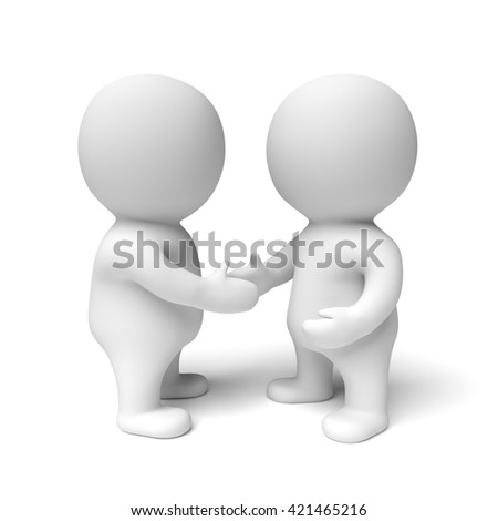 two human white 3d people shaking hands (3D illustration isolated on a white background)