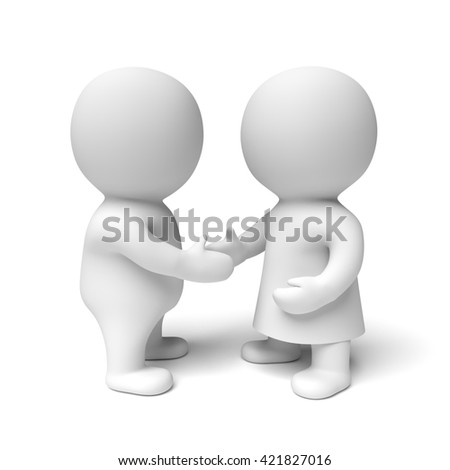 two human white 3d persons - the one on the right wearing a gown - shaking hands (3D illustration isolated on a white background)
