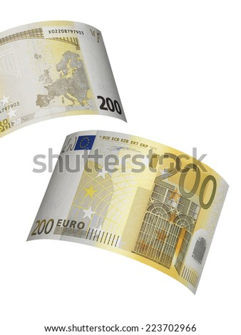 Two hundred euro bill collage isolated on white. Vertical format - stock photo