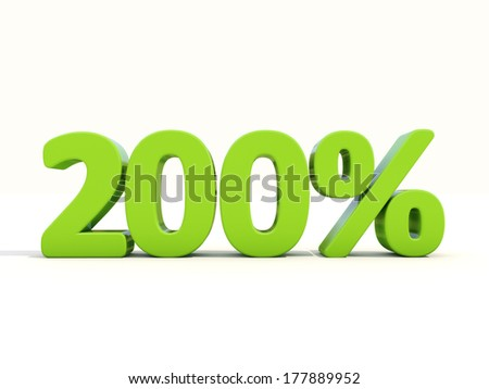 Two hundred percent. 200% percentage rate icon. 3D illustration. - stock photo
