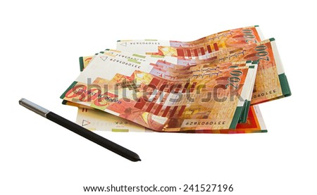 Two hundred shekel bank notes against white background. Concept photo of money, banking ,currency and foreign exchange rates. - stock photo