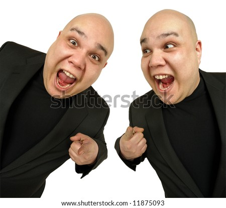 Two identical bald men pointing at you with excited looks on their faces. - stock photo