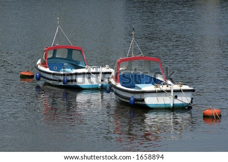 Two identical boats are moored to buoys on the river