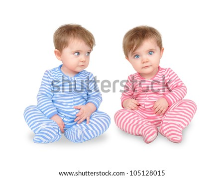Two Identical Twins Sitting On White Stock Photo 105128015 ... Three Babies Two Girls One Boy