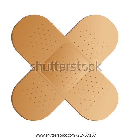 Two illustrated band aids cross with a drop shadow - stock photo
