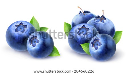 Two images of fresh blueberries with leaves over white background, with clipping path - stock photo