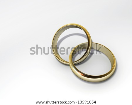 Two imbedded wedding rings on white background - 3d render