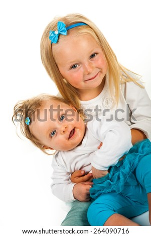 Two infant girls - stock photo
