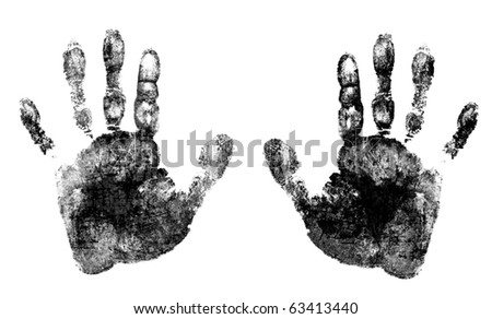 two ink hands - stock photo
