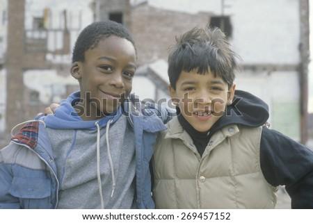 Two inner city boys in South Bronx, NY - stock photo