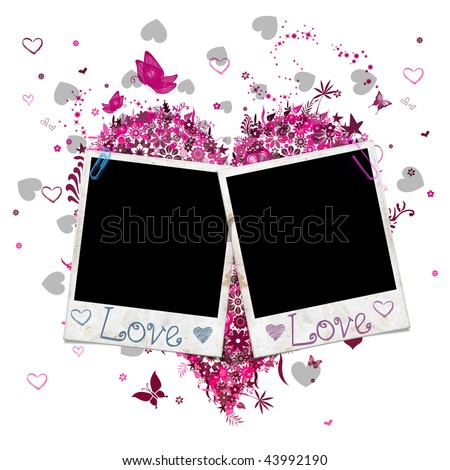 Two  instant photo style film with pink ornament for Saint Valentine's Day - stock photo