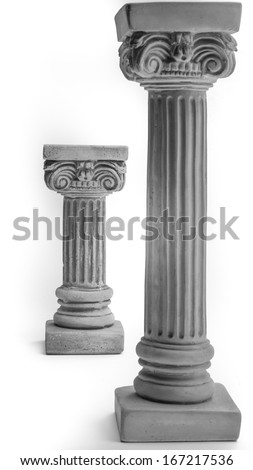 Two Ionic columns on white background