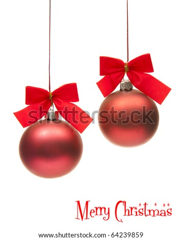 two isolated christmas globe with red ribbons - stock photo